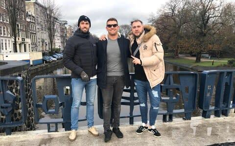 <span>Andrew McMath (centre) organised the trip to Sofia for himself and his friends, including Rob Spray (right), as a 30th birthday celebration</span>
