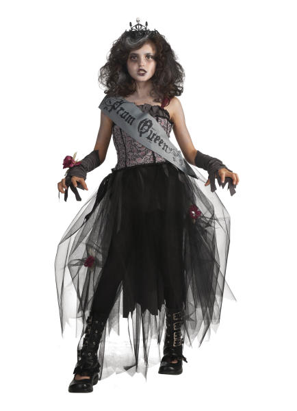 """This undated product image released by Part City shows a girl wearing a zombie queen costume. Catering to the popular zombie craze, Halloween costumes for young children are getting more grisly. Even costumes that were once benign now have violent twists: The sweet, simple """"sock monkey"""" is now a bloody zombie sock monkey with razor-sharp teeth, sold in sizes small enough for kindergartners. (AP Photo/Party City)"""