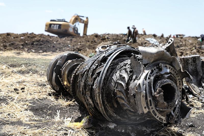 Debris of a Boeing 737 MAX 8 plane strewn over a crash site outside Addis Ababa (AFP Photo/Michael TEWELDE)