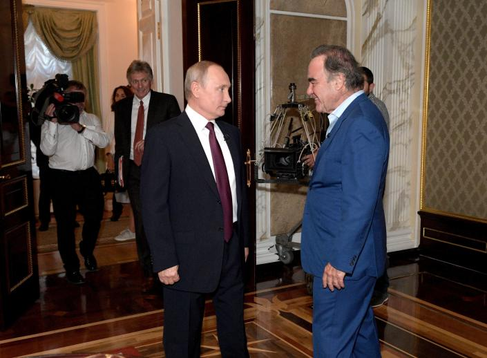 This photo taken on Wednesday, June 19, 2019, and distributed by Kremlin Press Service shows Russian President Vladimir Putin prior to an interview with American movie director Oliver Stone for his Revealing Ukraine documentary in the Kremlin in Moscow, Russia. (Alexei Druzhinin, Sputnik, Kremlin Pool Photo via AP)
