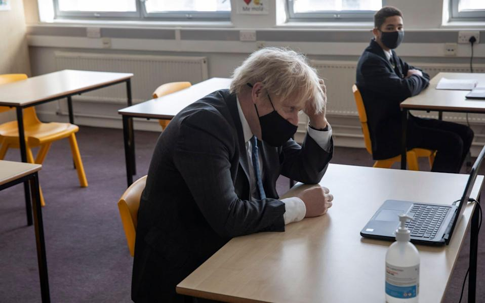 Must do better: Boris Johnson during a visit to a South London school todady - Times Newspaper