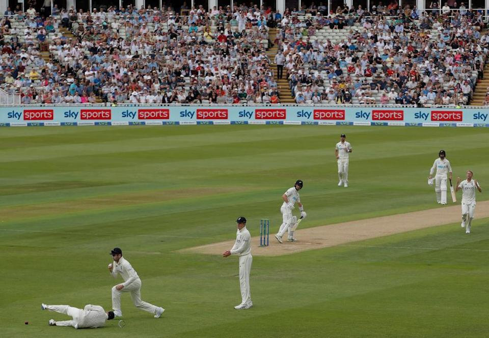 Olly Stone reacts after Joe Root dropped Will Young