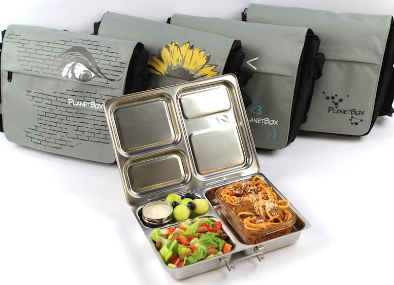 In this photo provided by PlanetBox, a PlanetBox Launch for larger meals, along with Carry Bags, are shown here. (AP Photo/PlanetBox)