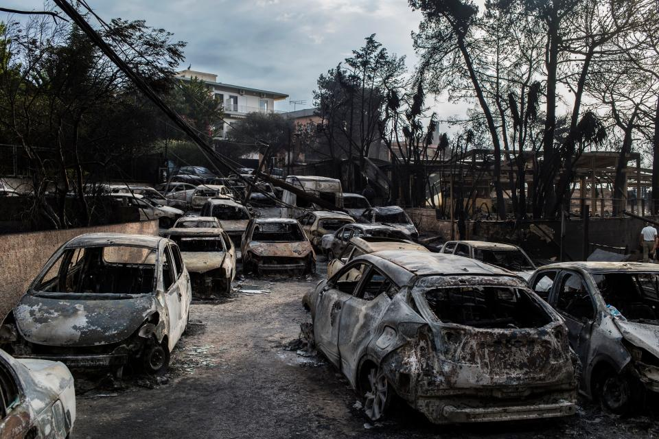 The fire ripped through the region destroying homes and cars on Monday night. Source: Getty