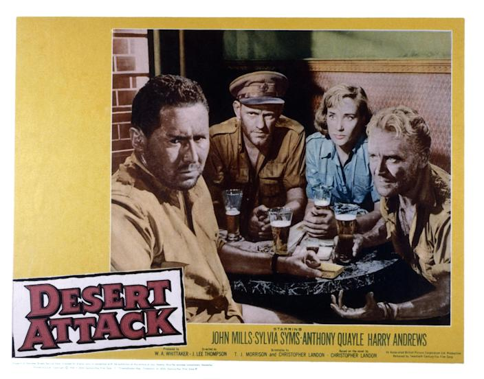 Desert Attack, (aka ICE COLD IN ALEX), US lobbycard, from left: Anthony Quayle, Harry Andrews, Sylvia Syms, John Mills, 1958. (Photo by LMPC via Getty Images)
