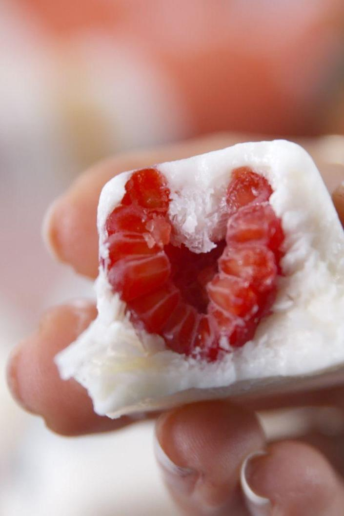 """<p>These fro-yo fruit bites make the perfect breakfast or healthy any-time snack.</p><p>Get the recipe from <a href=""""https://www.delish.com/cooking/recipe-ideas/recipes/a53806/fro-yo-fruit-bites-healthy-recipe/"""" rel=""""nofollow noopener"""" target=""""_blank"""" data-ylk=""""slk:Delish"""" class=""""link rapid-noclick-resp"""">Delish</a>. </p>"""