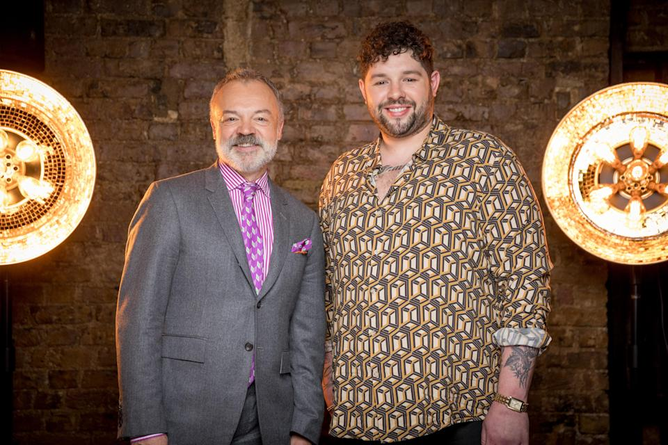 James Newman with the BBC's Eurovision host Graham Norton