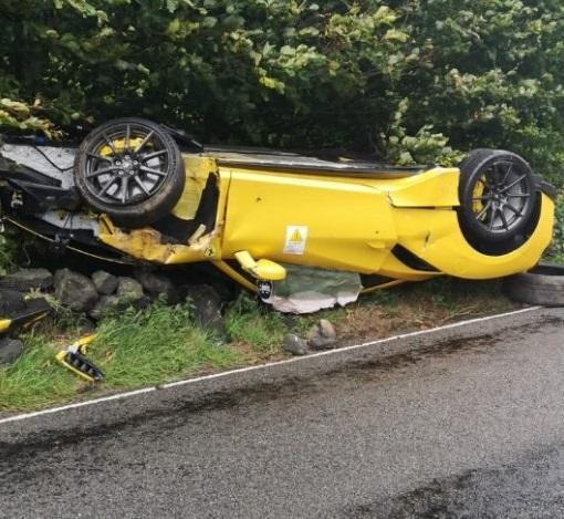 The Ferrari was flipped onto its roof in the accident in the Peak District. (swns)