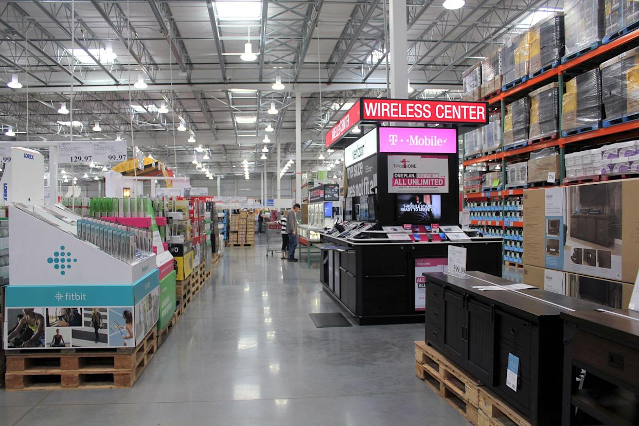 cell phone section at Costco
