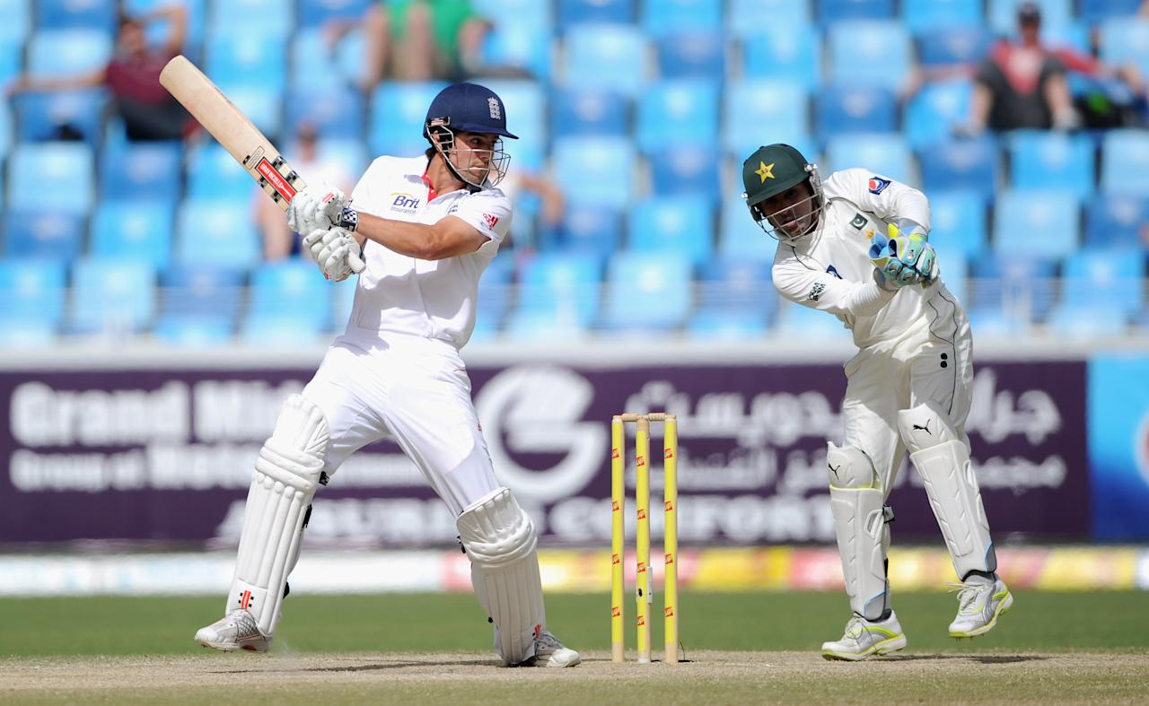 DUBAI, UNITED ARAB EMIRATES - FEBRUARY 06:  Alastair Cook of England bats during the 3rd Test match between Pakistan and England at The Dubai International Stadium on February 6, 2012 in Dubai, United Arab Emirates.  (Photo by Gareth Copley/Getty Images)