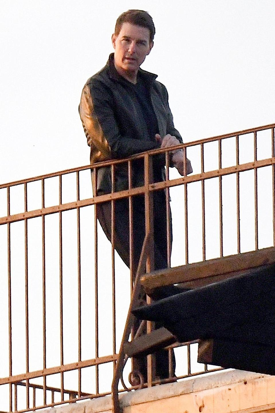 <p>Tom Cruise is seen on the set of <em>Mission Impossible 7</em> on Wednesday in Venice, Italy.</p>