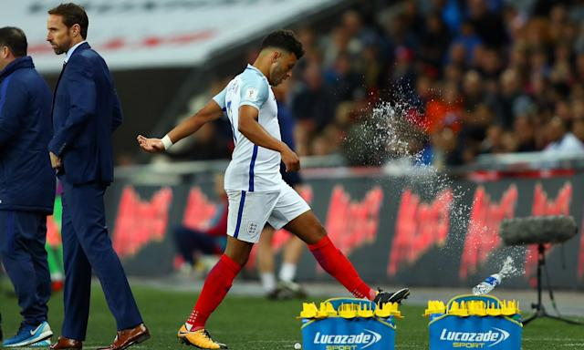 Alex Oxlade-Chamberlain reacts to being substituted by Gareth Southgate against Slovenia. The Liverpool midfielder has been dropped from the England manager's latest squad.