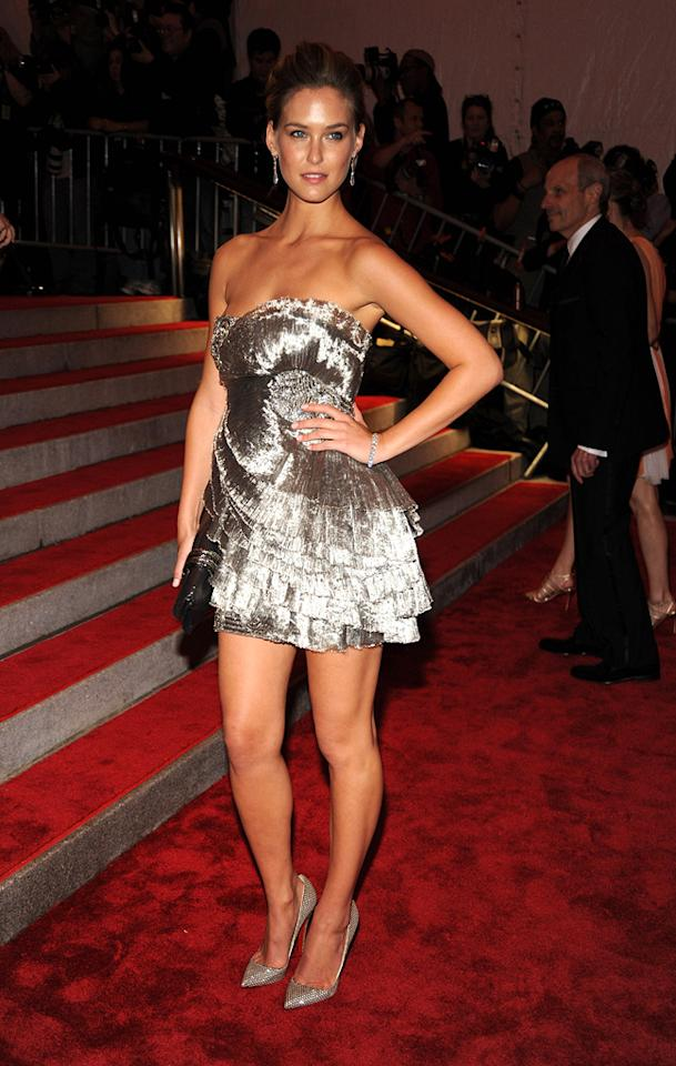 "Bar Refaeli worked the red carpet in a Marchesa metallic mini. Kevin Mazur/<a href=""http://www.wireimage.com"" target=""new"">WireImage.com</a> - May 4, 2009"