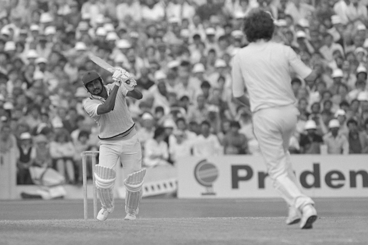 Jun 1983:  Sandeep Patel of India batting during the world cup semi-final match against England at Old Trafford in Manchester. Mandatory Credit: Adrian Murrell/Allsport