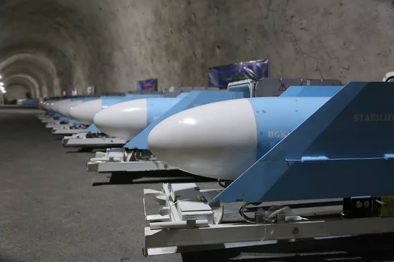 Missiles are seen at an underground missile site of Iran's Revolutionary Guards at an undisclosed location in the Gulf
