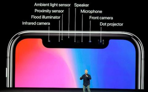 The top of the iPhone X is packed with sensors - Credit: AP