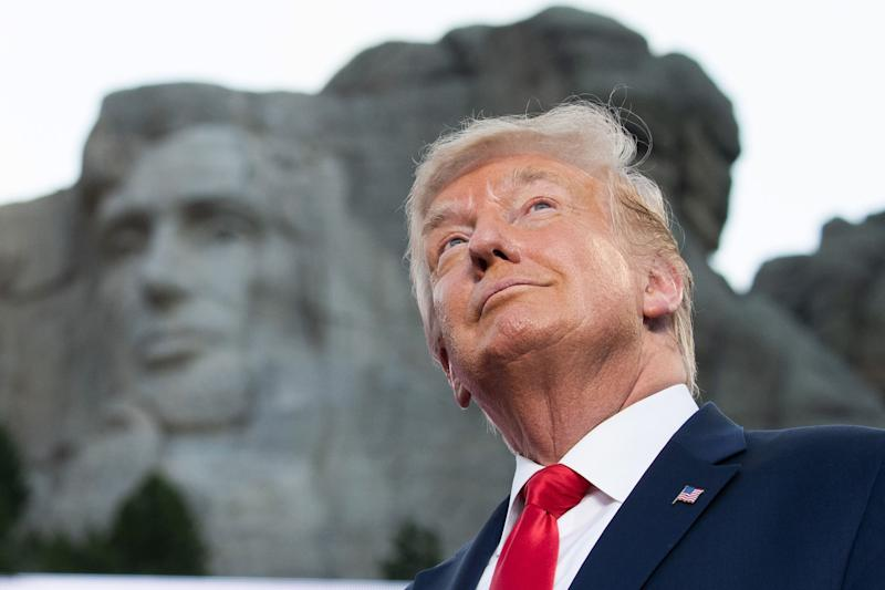 President Donald Trump arrives July 3, 2020, for the Independence Day events at Mount Rushmore National Memorial in Keystone, S.D.