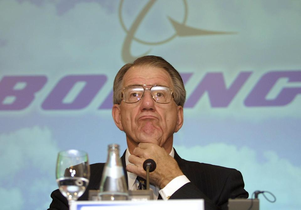 <p>The former president and CEO of McDonnell Douglas and The Boeing Company, Harry Stonecipher, was brought in to clean up Boeing's image which had been severely dented following scandals surrounding documents stolen from competitors and procurement of government contracts.</p> <p>However, his own personal ethics came to question and Stonecipher was forced to resign after news of his extramarital affair with a Boeing executive, Debra Peabody emerged. His wife of 50 years filed for a divorce and he went on to marry Peabody.<br><br><strong>Image credit: </strong>AFP PHOTO / Pierre-Philippe MARCOU (Photo credit should read PIERRE-PHILIPPE MARCOU/AFP via Getty Images)</p>