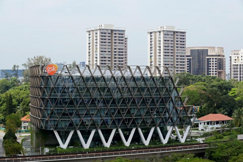 FILE PHOTO: An aerial view of GSK Asia House is seen in Singapore