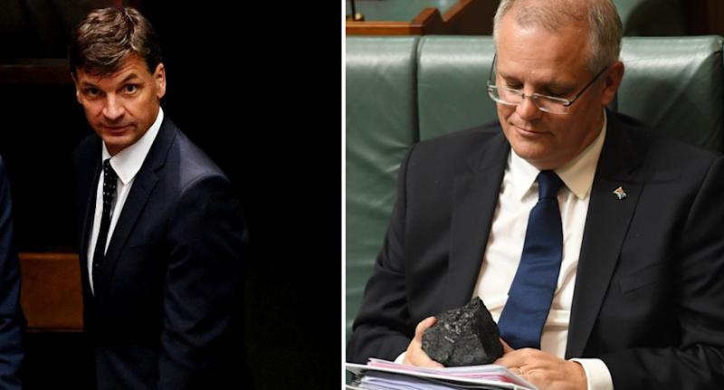 Angus Taylor (left) and Scott Morrison holding a lump of coal in parliament (right).
