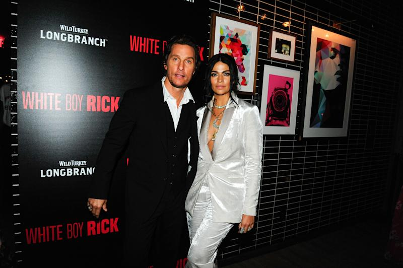 Matthew McConaughey and Camilla Alves attend the Columbia Pictures and Cinema Society With Wild Turkey Longbranch afterparty for White Boy Rick at The Skylark on September 12, 2018, in New York.