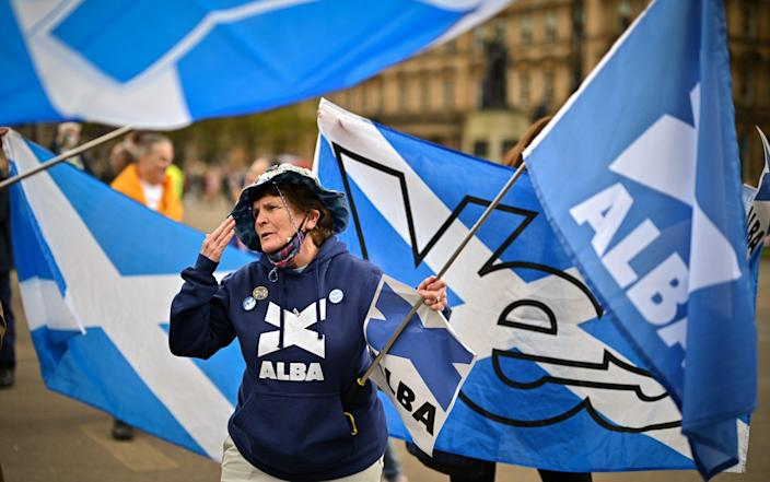 Scottish independence supporters gather in George Square for a rally organised by 'All Under One Banner' on May 1 - Jeff J Mitchell/Getty Images Europe