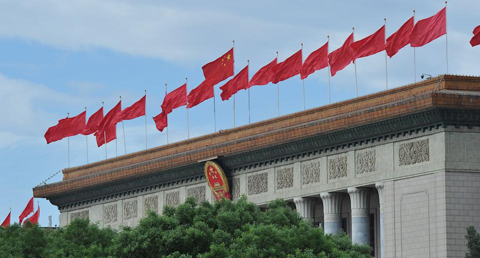 Chinese flags outside an embassy.