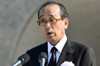 Hiroshima Mayor Kazumi Matsui delivers a speech during a ceremony at the Hiroshima Peace Memorial Park in Hiroshima, western Japan Friday, Aug. 6, 2021. Hiroshima on Friday marked the 76th anniversary of the world's first atomic bombing of the city. (Kyodo News via AP)