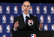 NBA Commissioner Adam Silver addresses the media during a news conference, in New York, Tuesday, April 29, 2014. Silver announced that Los Angeles Clippers owner Donald Sterling has been banned for life by the league in response to racist comments the league says he made in a recorded conversation. (AP Photo/Richard Drew)