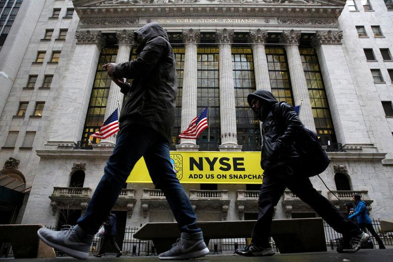 A Snapchat sign hangs on the facade of the NYSE