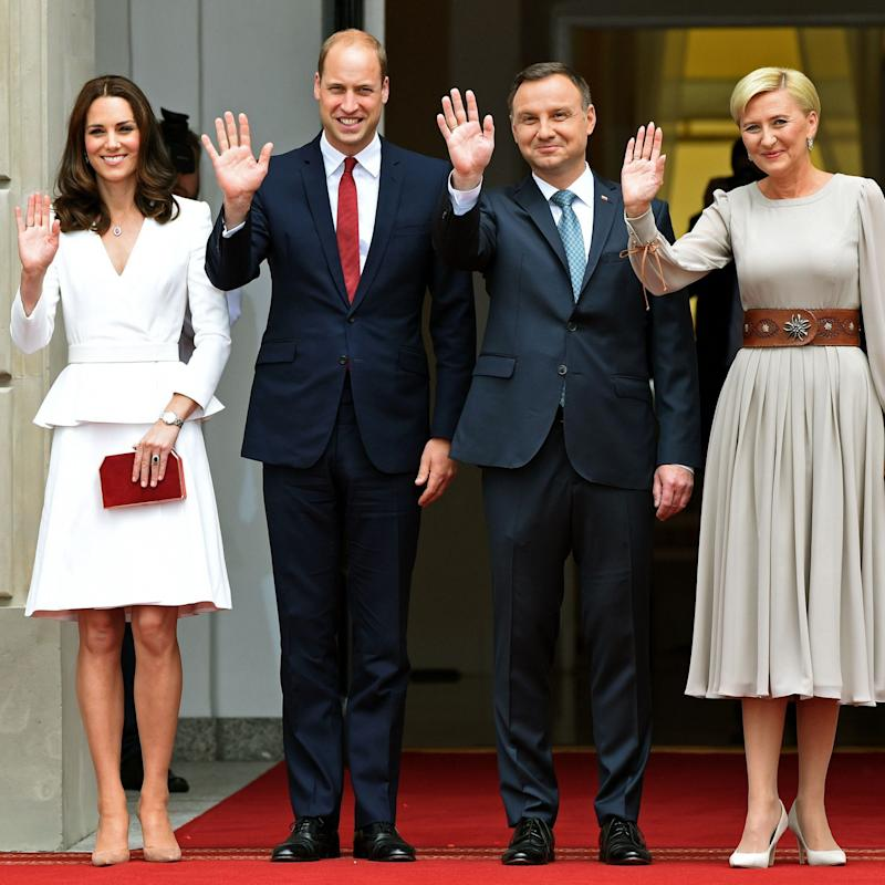 The Duke and Duchess of Cambridge with Polish President Andrzej Duda and his wife Agata Kornhauser-Duda - Credit: AFP