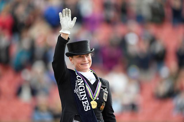 Equestrian - FEI European Championships 2017 - FEI Grand Prix Final Dressage - Ullevi Stadium - Gothenburg, Sweden - August 25, 2017 - Isabell Werth of Germany gestures after winning the competition. TT News Agency/Pontus Lundahl via REUTERS ATTENTION EDITORS - THIS IMAGE WAS PROVIDED BY A THIRD PARTY. SWEDEN OUT. NO COMMERCIAL OR EDITORIAL SALES IN SWEDEN