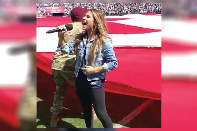 Jessie James Decker insists her NFL husband was tricked into a National Anthem demonstration. (Photo: Facebook/Jessie James Decker)
