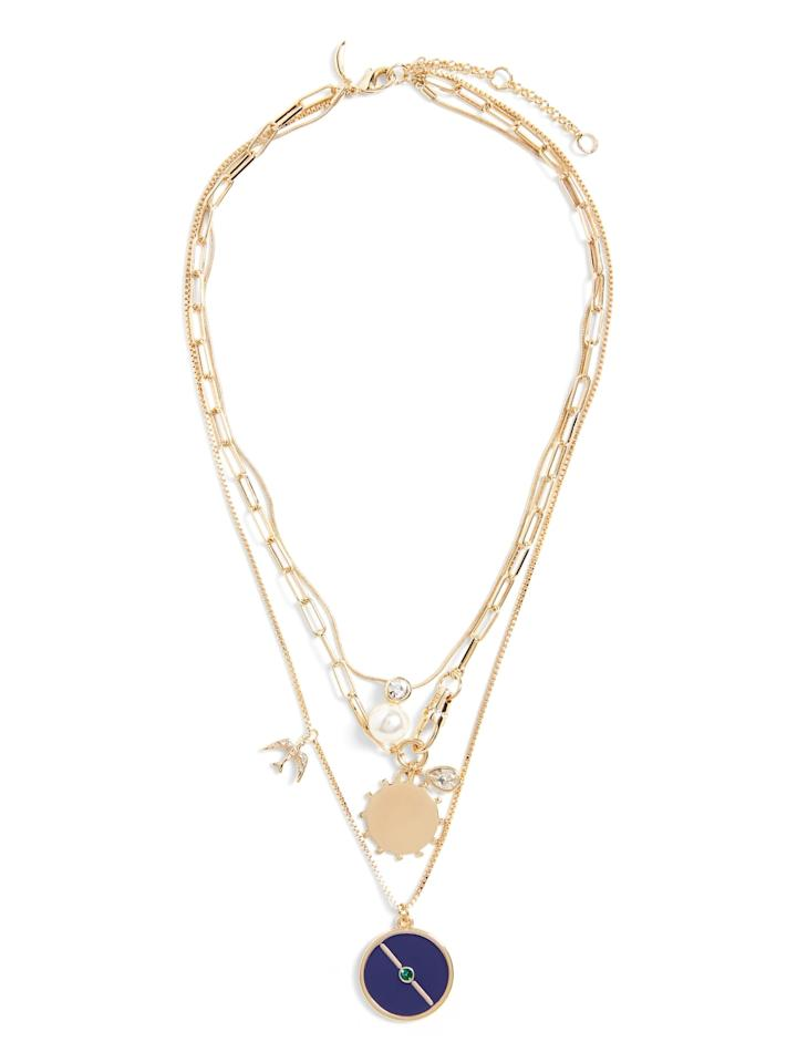"""<p>I couldn't resist this fun <a href=""""https://www.popsugar.com/buy/Banana-Republic-Layered-Enamel-amp-Chain-Necklace-541543?p_name=Banana%20Republic%20Layered%20Enamel%20%26amp%3B%20Chain%20Necklace&retailer=bananarepublic.gap.com&pid=541543&price=58&evar1=fab%3Aus&evar9=47120329&evar98=https%3A%2F%2Fwww.popsugar.com%2Ffashion%2Fphoto-gallery%2F47120329%2Fimage%2F47120331%2FBanana-Republic-Layered-Enamel-Chain-Necklace&list1=shopping%2Cbanana%20republic%2Cblazers%2Cjackets%2Ceditors%20pick%2Cproduct%20reviews&prop13=mobile&pdata=1"""" rel=""""nofollow"""" data-shoppable-link=""""1"""" target=""""_blank"""" class=""""ga-track"""" data-ga-category=""""Related"""" data-ga-label=""""https://bananarepublic.gap.com/browse/product.do?pid=510748002&amp;pcid=999#pdp-page-content"""" data-ga-action=""""In-Line Links"""">Banana Republic Layered Enamel &amp; Chain Necklace</a> ($58).</p>"""