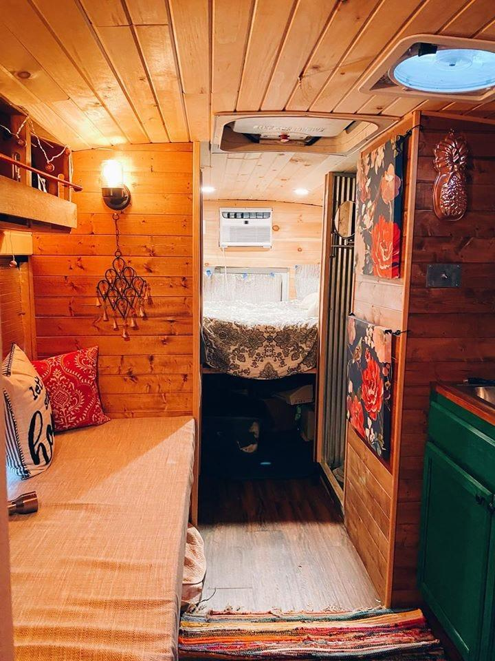 """The Teceno family renovated the entire school bus themselves. They bought the bus in Georgia to avoid the hidden metal corrosion that's associated with colder weather """"rust states."""""""