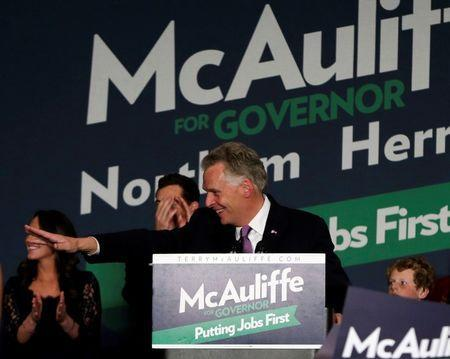 Virginia Democratic governor-elect Terry McAuliffe appears at his election night victory rally in Tyson's Corner, Virginia November 5, 2013. REUTERS/Gary Cameron