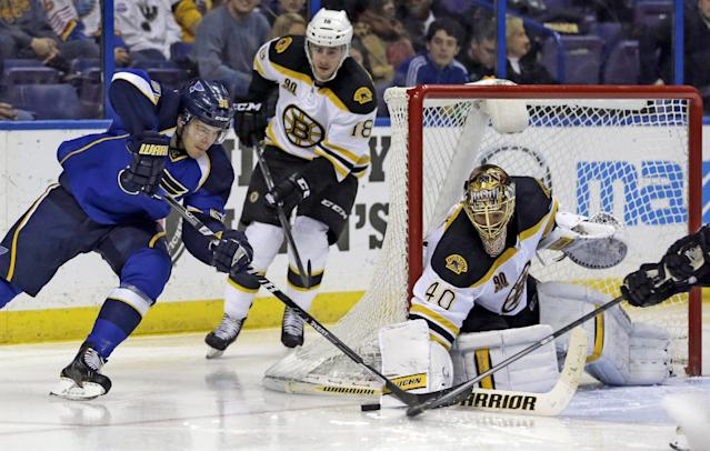 St. Louis Blues' Magnus Paajarvi, of Sweden, tries to get off a shot as Boston Bruins' Reilly Smith, center, and goalie Tuukka Rask, of Finland, defend during the second period of an NHL hockey game Thursday, Feb. 6, 2014, in St. Louis. (AP Photo/Jeff Roberson)