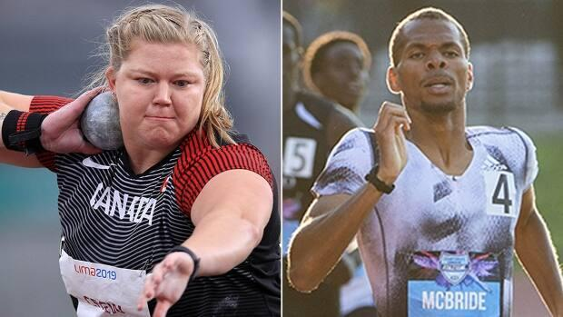 Shot putter Brittany Crew, left, and middle-distance runner Brandon McBride will not defend their Canadian titles later this week at the track and field Olympic trials in Montreal as they continue their recovery from injury ahead of the Summer Games in Tokyo next month. (Getty Images/Ryan Remiorz/Canadian Press/File - image credit)