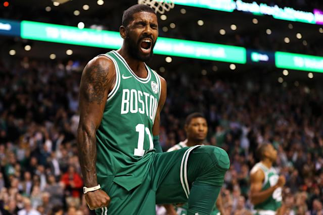 "Even after a visit from the champs, <a class=""link rapid-noclick-resp"" href=""/nba/players/4840/"" data-ylk=""slk:Kyrie Irving"">Kyrie Irving</a> and the Celtics are still making noise. (Getty)"