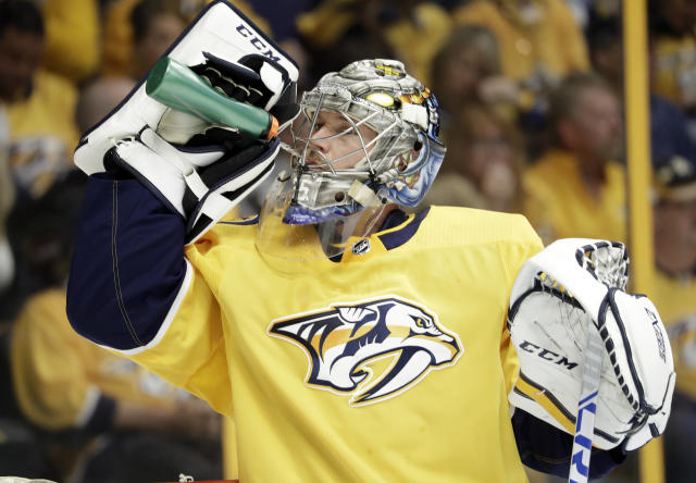 Nashville Predators goalie Pekka Rinne, of Finland, drinks during the first period in Game 1 of an NHL hockey second-round playoff series against the Winnipeg Jets, Friday, April 27, 2018, in Nashville, Tenn. (AP Photo/Mark Humphrey)