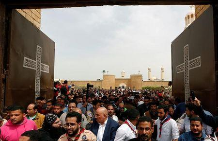 "Egyptians attend the funeral of victims of the Palm Sunday bombings at Monastery of Saint Mina ""Deir Mar Mina"" in Alexandria"