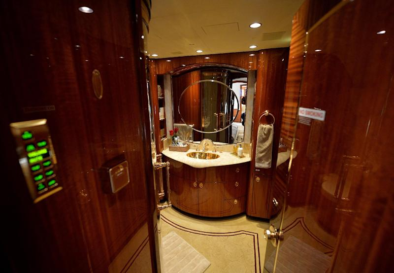 A luxury bathroom on an Airbus A319 private business jet for sale during the Asian Business Aviation Conference and Exhibition in Shanghai on April 14, 2014 (AFP Photo/Mark Ralston)