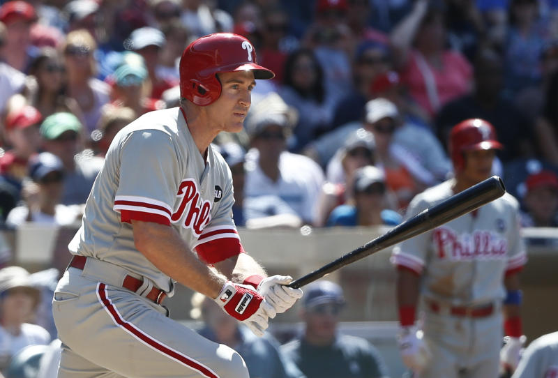 Philadelphia Phillies pinch hitter Chase Utley watches his two run double head down the right field line in the eighth inning of a baseball game against the San Diego Padres, Sunday, Aug. 9, 2015, in San Diego. (AP Photo/Lenny Ignelzi)