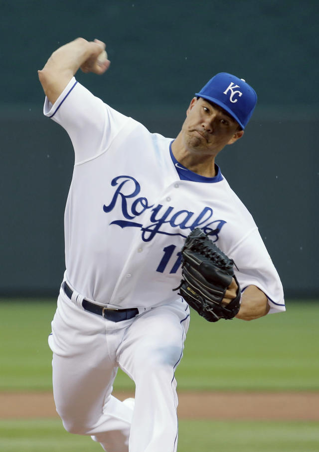Kansas City Royals starting pitcher Jeremy Guthrie throws during the first inning of a baseball game against the Baltimore Orioles on Friday, May 16, 2014, in Kansas City, Mo. (AP Photo/Charlie Riedel)