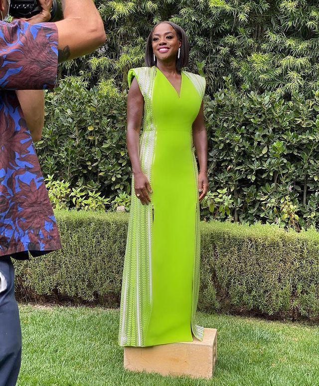 """<p>Viola Davis also embraced brights in a custom-made Louis Vuitton gown, paired with Forevermark jewellery. <br></p><p><a href=""""https://www.instagram.com/p/CNQ0cm5M2B6/?utm_source=ig_embed&utm_campaign=loading"""" rel=""""nofollow noopener"""" target=""""_blank"""" data-ylk=""""slk:See the original post on Instagram"""" class=""""link rapid-noclick-resp"""">See the original post on Instagram</a></p>"""