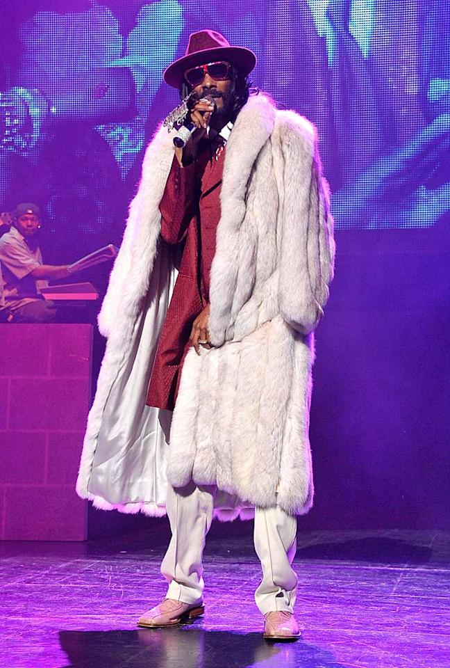 """Also found under a mountain of fur this week ... rapper Snoop Dogg, who dusted off his signature gear for a hip-hop comedy concert in Universal City, California. Dr. Billy Ingram/<a href=""""http://www.wireimage.com"""" target=""""new"""">WireImage.com</a> - November 3, 2010"""