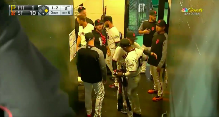 Eduardo Nunez says goodbye to his teammates in San Francisco. (Screenshot via @NBCSGiants on Twitter)