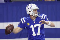 Indianapolis Colts quarterback Philip Rivers warms up before an NFL football game against the Jacksonville Jaguars, Sunday, Jan. 3, 2021, in Indianapolis. (AP Photo/AJ Mast)