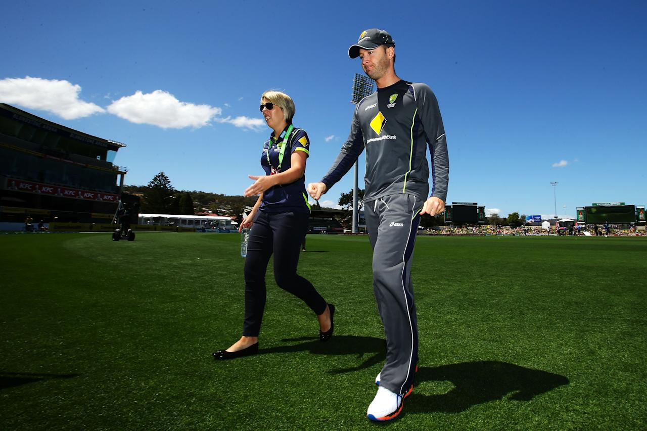 HOBART, AUSTRALIA - JANUARY 23:  Michael Clarke of Australia walks from the field after giving an interview after being ruled out of game five of the Commonwealth Bank One Day International series between Australia and Sri Lanka at Blundstone Arena on January 23, 2013 in Hobart, Australia.  (Photo by Matt King/Getty Images)