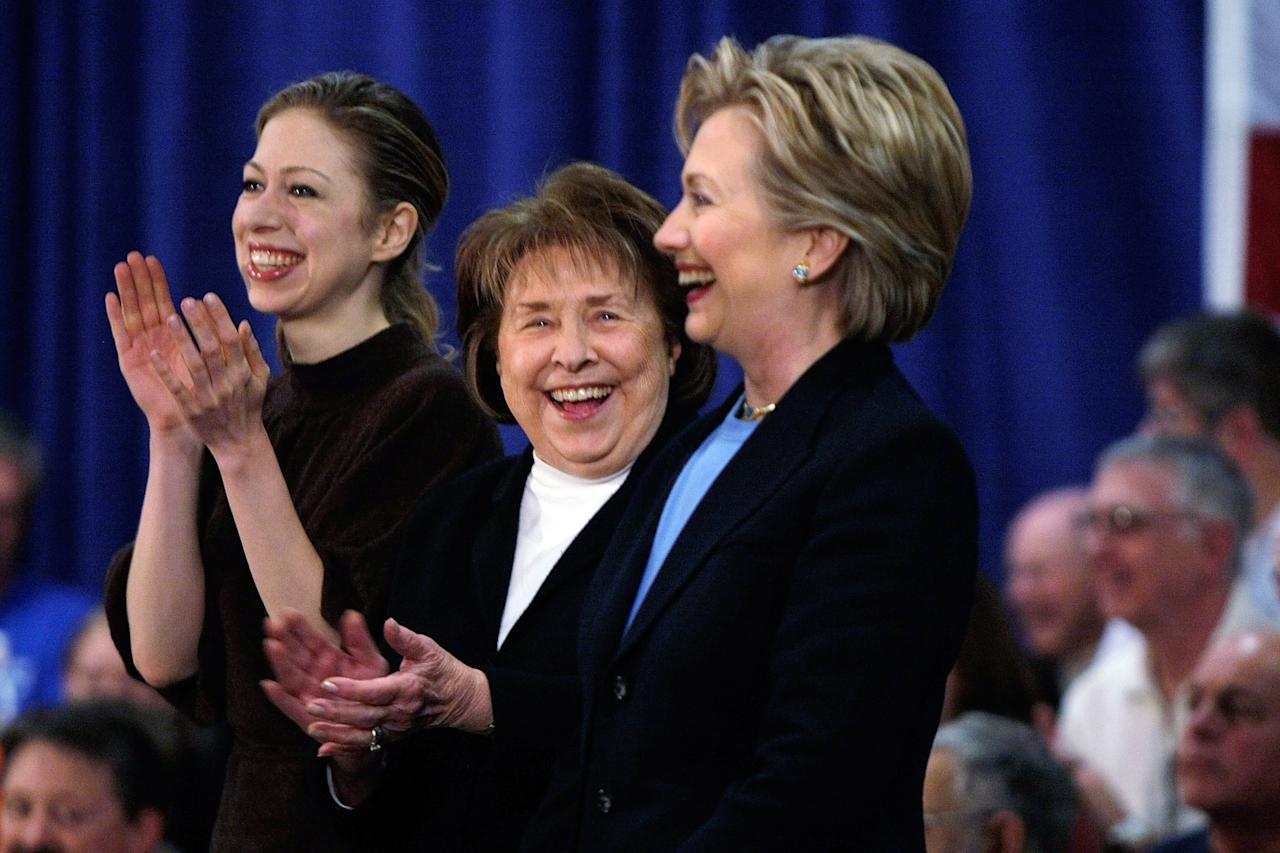 AMES, IA - FILE:  Democratic presidential candidate Sen. Hillary Clinton (D-NY) stands with her mother Dorothy Rodham (C) and daughter Chelsea Clinton (L) as they are introduced during a campaign stop at the Gateway Hotel January 1, 2008 in Ames, Iowa. In a statement released by the Clinton Foundation, it was announced that Dorothy Rodham, 92, died shortly after midnight November 1, 2011 in Washington, DC. (Photo by Joe Raedle/Getty Images)